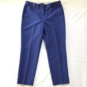 J. Crew blue cigarette foulard jacquard pant, 10